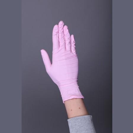 """Перчатки нитриловые """"BENOVY"""" РОЗОВЫЕ (неопудренные), уп: 50 пар"""