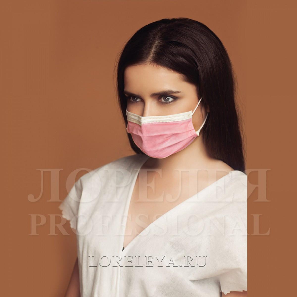 МАСКА трехслойная на резинке в пакете, цвет: розовый (50 шт.)