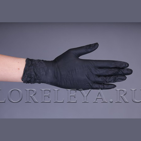 Перчатки нитриловые ЧЕРНЫЙ (неопудренные), уп: 50 пар.