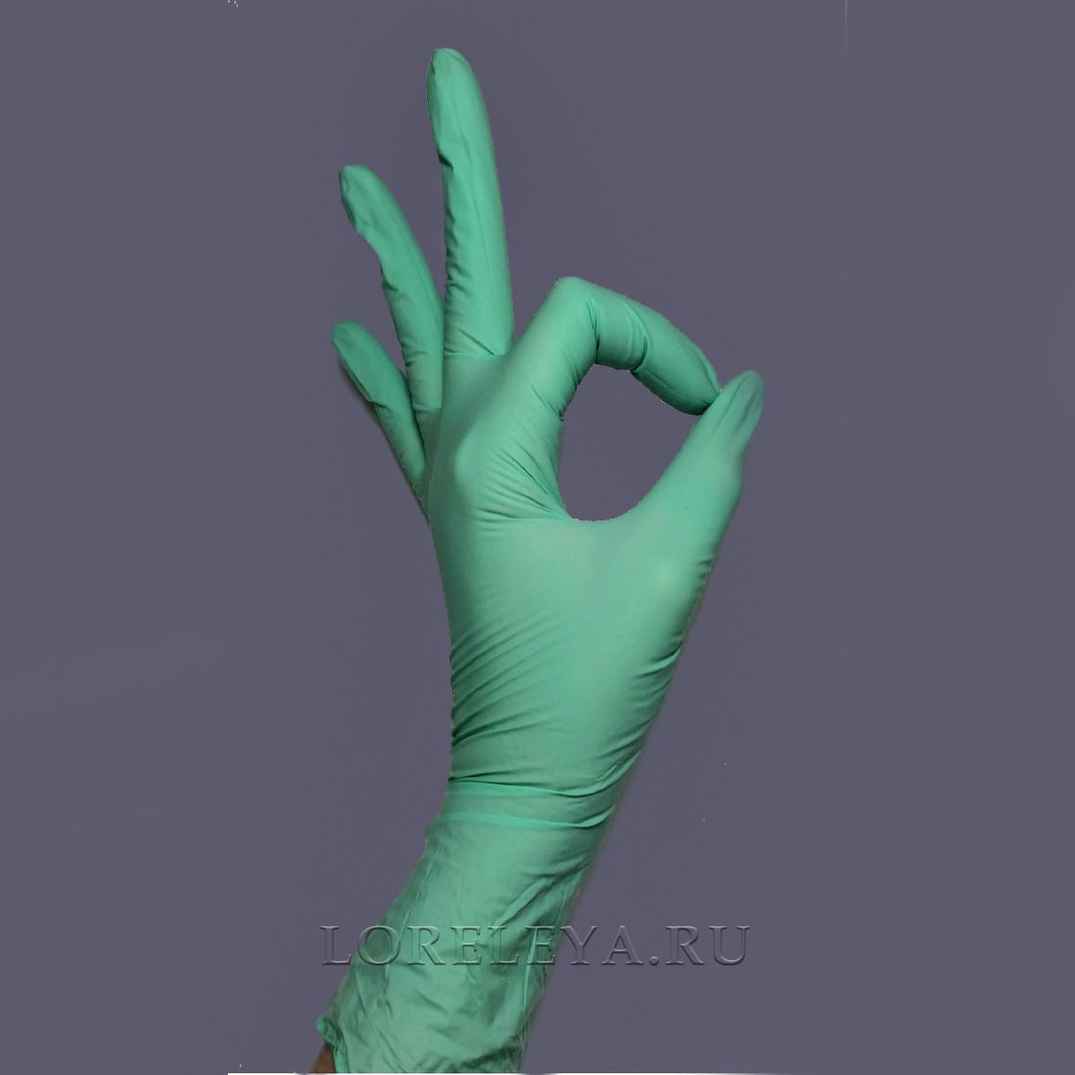 """Перчатки нитриловые """"BENOVY"""" САЛАТОВЫЕ (неопудренные), уп: 50 пар."""