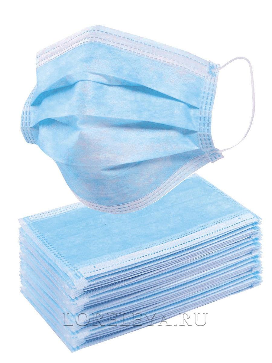 МАСКА трехслойная на резинке (уп. 60 шт)