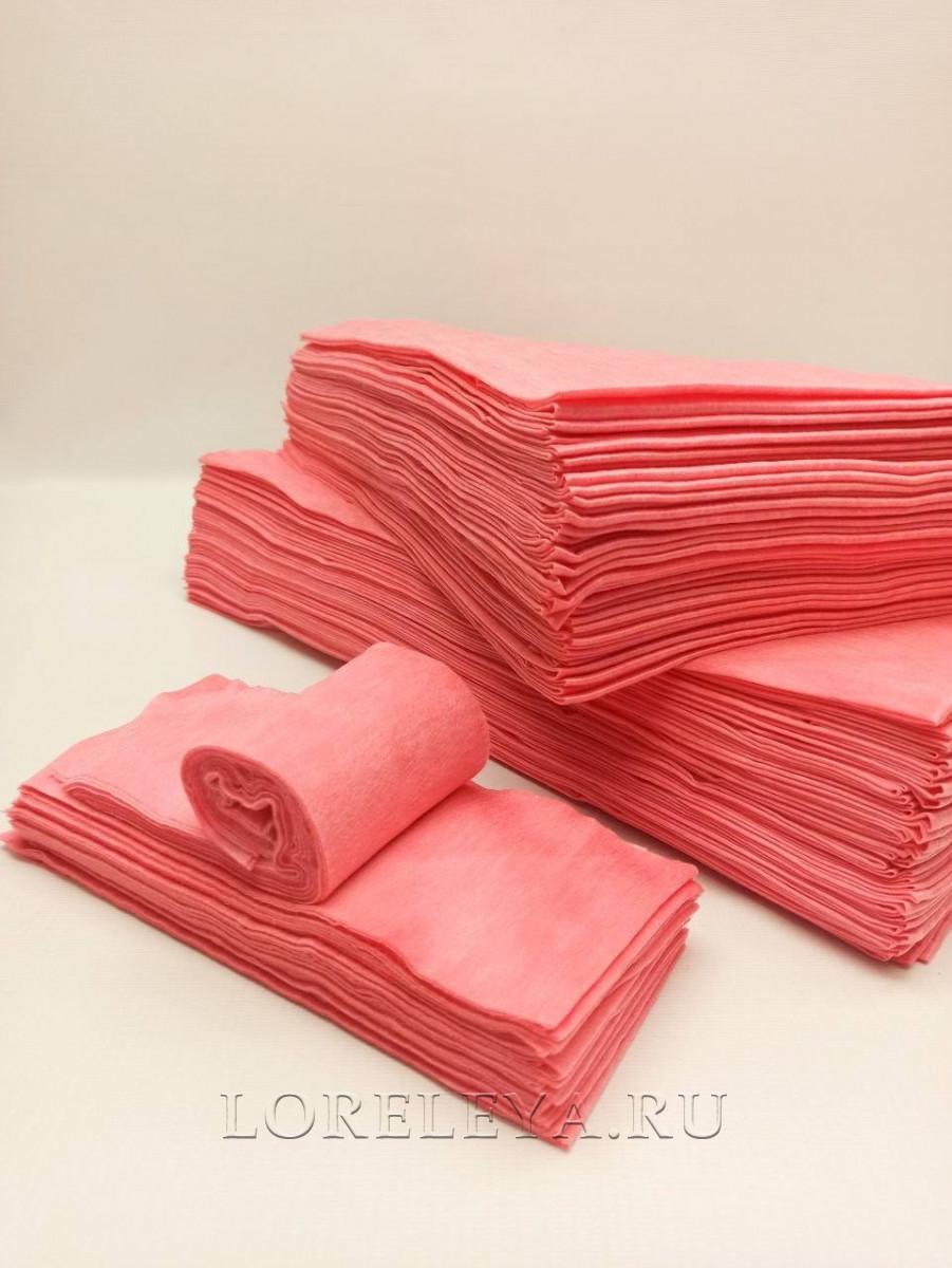 ВОРОТНИЧКИ спанлейс цвет розовый 1/2 сложения  9х45 см (100шт)