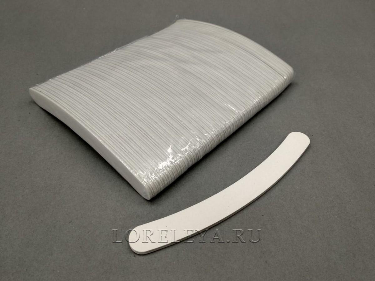 Пилка  для искусственных  ногтей одноразовая  банан  100/180  белая (уп.50 шт.)